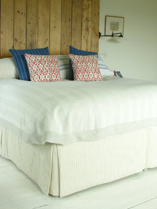 Linen Bedcover, Ticking Valance
