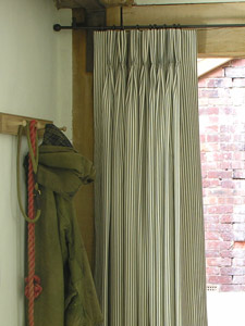 Ticking Triple Pleat Door Curtains