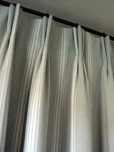 Triple Pleat Curtains in Henry Cotton Stripe