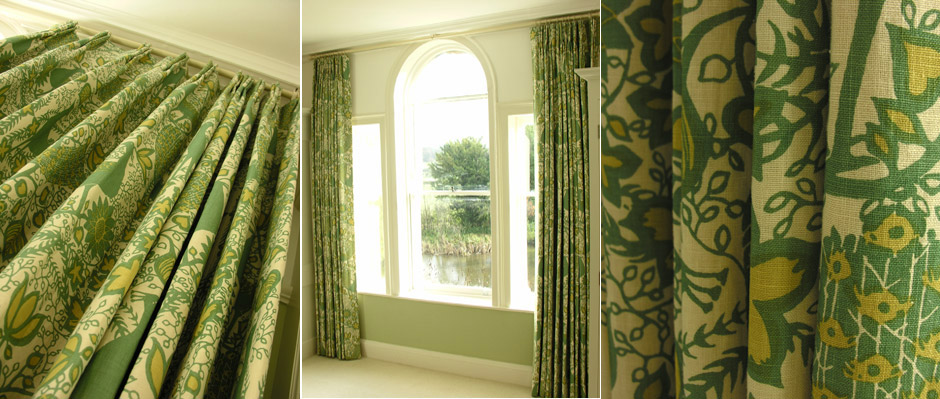 linen triple pleat curtains in peacock by lewis and wood