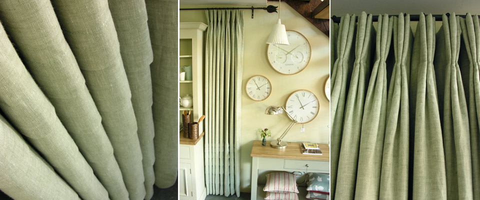 Fine Linen Curtain with Triple Pleats and pleated skirt