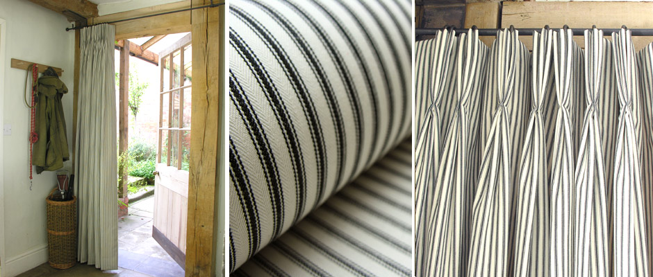 Triple pleated ticking curtain